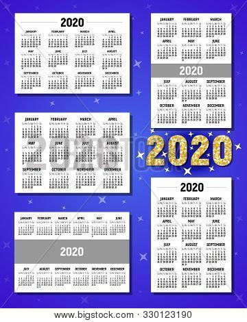 Calendar For 2020. Calendar Grid. Horizontal And Vertical Calendars. Week Starts Sunday. 2020 Calend