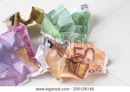 Crumpled Euro Money. European Currency Bills Of 50, 100, 200 And 500 Euros On White Background. Sele