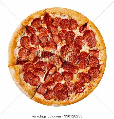 Fresh Tasty Pizza With Pepperoni Isolated On White Background. Top View