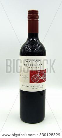 Zaandam, The Netherlands - October 27, 2019: Bottle Of Cono Sur Bicicleta Reserva Pinot Noir.