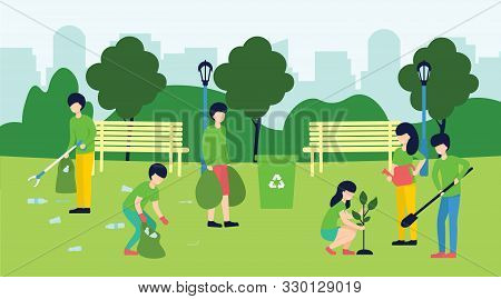 Volunteering, Social Concept. Volunteer Team Of People Cleaning Garbage And Plant A Trees On Lawn Of