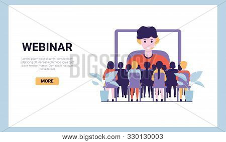 Training Conference And Couch Lecture. Teacher And Leader Educates Business Webinar Audience. Busine