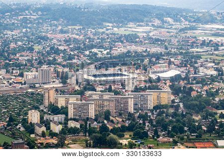 Aerial View Of Football Soccer Stadion Of City Graz From Helicopter Drone With District Liebenau On