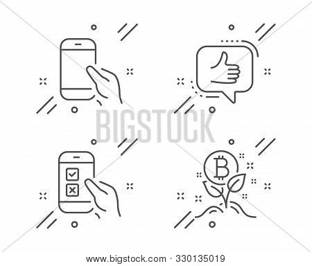 Mobile Survey, Like And Hold Smartphone Line Icons Set. Bitcoin Project Sign. Phone Quiz Test, Thumb