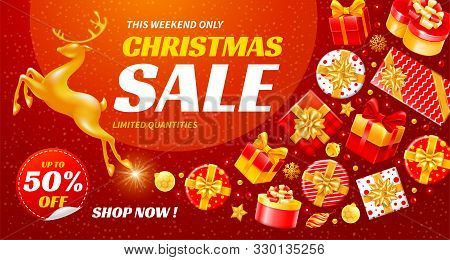 Festive Christmas And New Year Sale. Luxury, Enticing And Bright Vector Design With Golden Running M