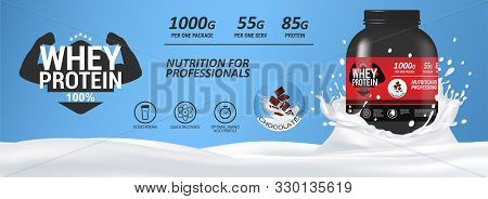 Sport Nutrition, Whey Protein Mockup Banner With Milk And A Can Of Protein. Realistic 3d Protein Can