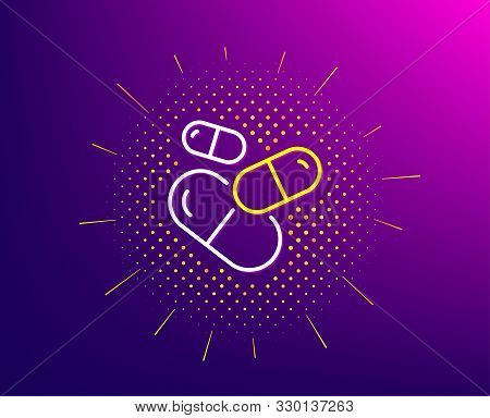 Capsule Pill Line Icon. Halftone Pattern. Medical Drugs Sign. Pharmacy Medication Symbol. Gradient B