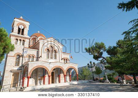 Delphi Greece - July 127 2019; Greek Orthodox Church Of Saint Nicholas On Hill In Delphi Greece.