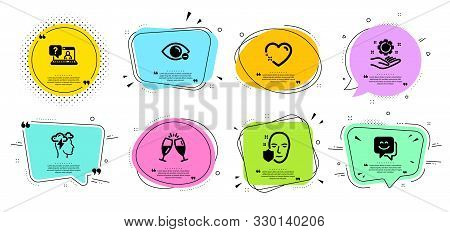 Myopia, Champagne Glasses And Smile Face Line Icons Set. Chat Bubbles With Quotes. Mindfulness Stres