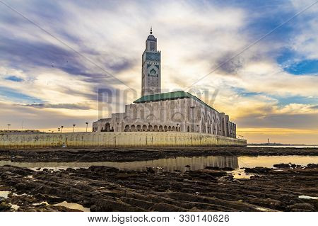 View Of Hassan Ii Mosque At Sunset - The Hassan Ii Mosque Or Grande Mosquée Hassan Ii Is A Mosque In
