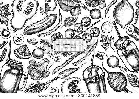Design With Black And White Lemons, Broccoli, Radish, Green Beans, Cherry Tomatoes, Beet, Greenery,