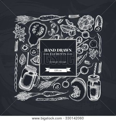 Square Design With Chalk Lemons, Broccoli, Radish, Green Beans, Cherry Tomatoes, Beet, Greenery, Car