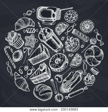 Round Design With Chalk Cinnamon, Macaron, Lollipop, Bar, Candies, Oranges, Buns And Bread, Croissan