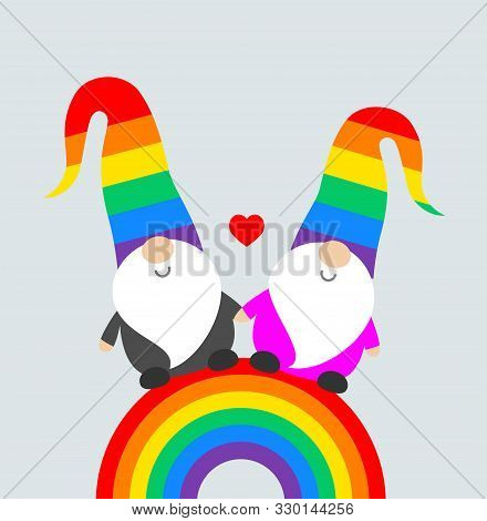 Christmas Pride celebration party funny greeting card with cute Santa elves gnomes in rainbow hats, and rainbow flag. Vector Christmas Pride illustration poster