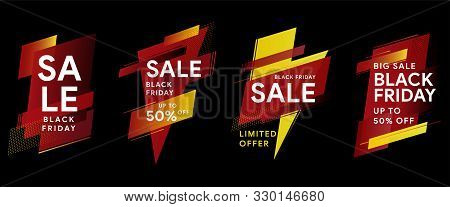 Black Friday. Sale And Discounts Banners. Set Of Banners For Web, Social Networks And Advertising. T