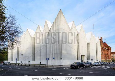 Szczecin, Poland - October 25:  Philharmonic Hall With A Modern Futuristic Facade On The Solidarity