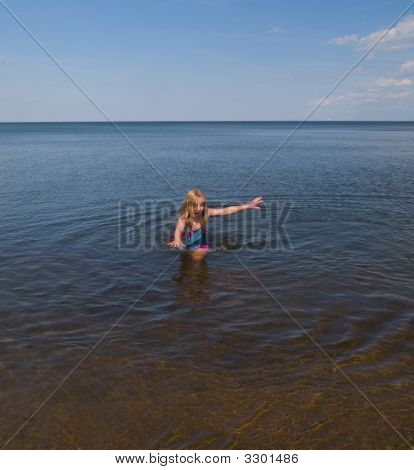 Girl Escaping Cold Water