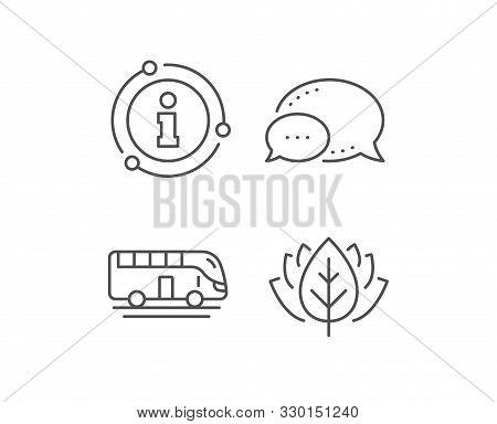 Bus Tour Transport Line Icon. Chat Bubble, Info Sign Elements. Transportation Sign. Tourism Or Publi