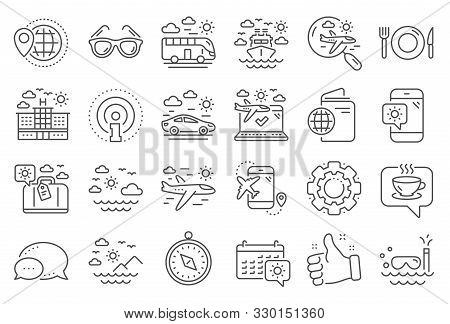 Travel Line Icons. Passport, Luggage, Check In Airport Icons. Airplane Flight, Sunglasses, Hotel Bui