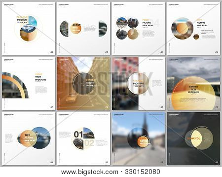 Minimal Brochure Templates With Yellow Color Circles, Round Shapes. Covers Design Templates For Squa