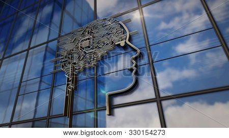Ai Head Symbol On Glass Building. Mirrored Sky And City On Modern Facade. Artificial Intelligence An