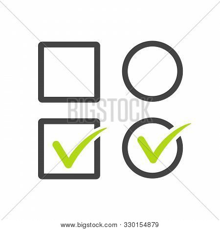 Check Uncheck, Square And Round Checkbox Set With Blank And Checked Checkbox Line Art Vector Icon Fo