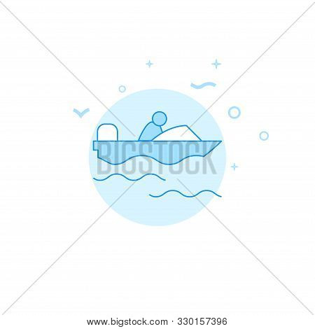 Powerboat, Motorboat With Driver Vector Icon. Flat Illustration. Filled Line Style. Blue Monochrome
