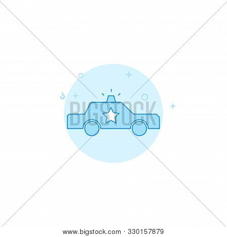 Police Patrol Car Vector Icon. Flat Illustration. Filled Line Style. Blue Monochrome Design. Editabl