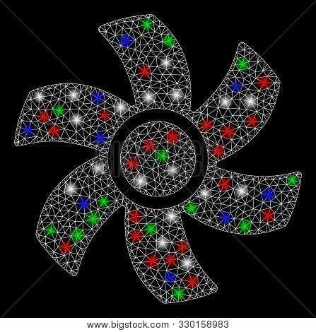 Bright Mesh Rotor With Glare Effect. White Wire Frame Triangular Mesh In Vector Format On A Black Ba