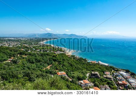 View On San Felice Circeo Town And Sea Bay, Lazio, Italy From Mountain