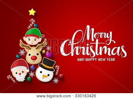 Christmas Tree Vector Background Design. Merry Chistmas And Happy Ne Year Greeting Typography Text W