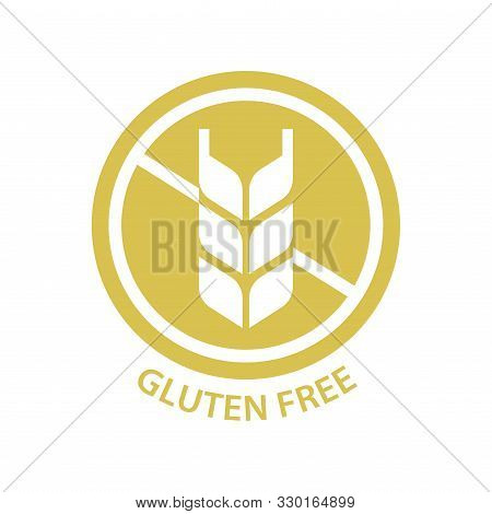 Gluten Free Circle Vector Stamp. Gluten Free Label For Products Packaging.