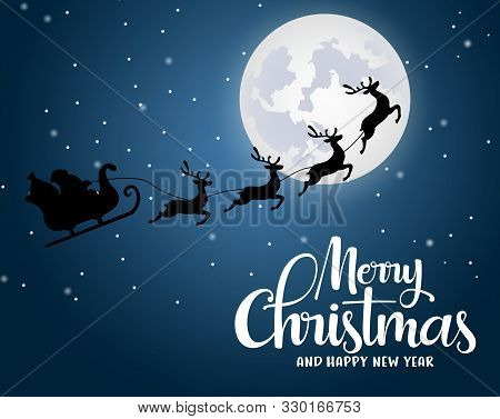 Christmas Santa Claus Riding Reindeer Vector Background Design. Merry Christmas And Happy New Year G