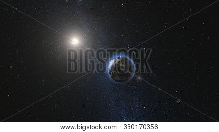 Sunrise view on Planet Earth and Moon satellite rotating and spinning in open space. Cities Lights at Night. Looped animation. High detail 3D Render. Elements of this image furnished by NASA