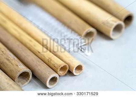 Nature Drinking Straws From Bamboo Wood For Reusable And Reduce The Use Of Plastic Straw. Reduce Pla