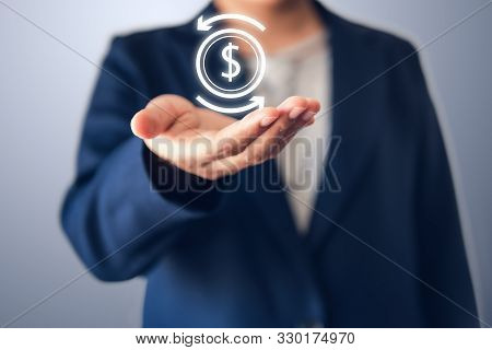 Business Finance Investment And Stock Market Concept, Businesswoman Holding Dollar Money Currency Sy