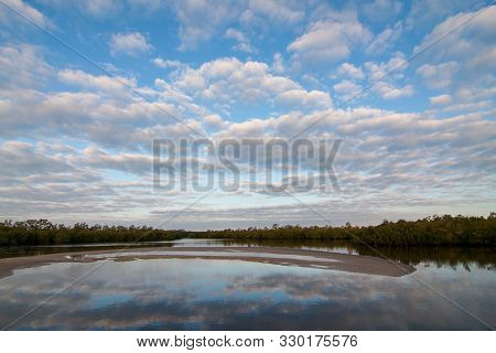 Early Moning Cloudscape Over Ding Darling National Wildlife Refuge On Sanibel Island, Florida In Win