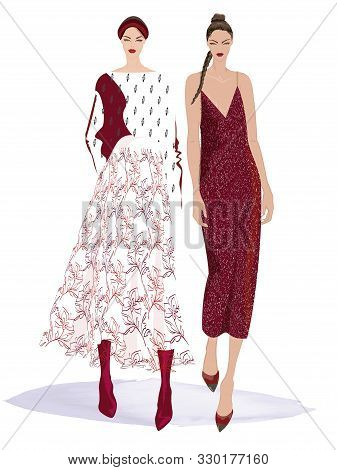 Fashion Illustration Of Two Young, Beautiful Women In Stylish Dressy Outfits. Isolated From Backgrou