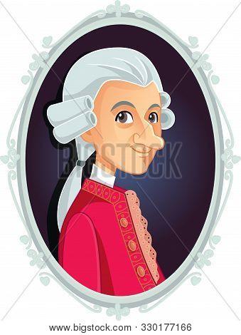 Wolfgang Amadeus Mozart Vector Caricature Cartoon Portrait
