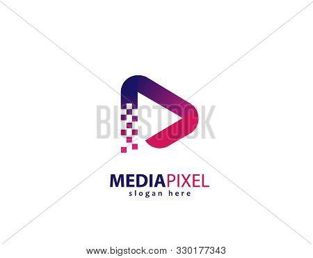 Media Pixel Design Logo- White Background Illustartion Design