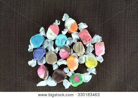 Colorful Water Taffy Candy On The Table