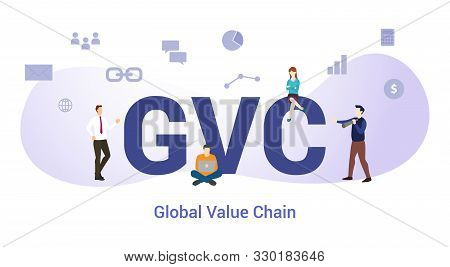 Gvc Global Value Chain Concept With Big Word Or Text And Team People With Modern Flat Style - Vector
