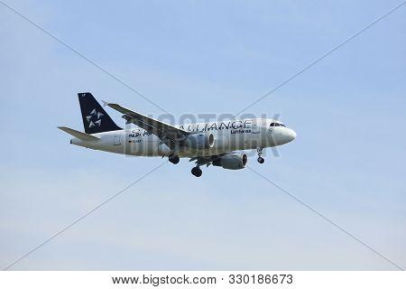 Amsterdam, The Netherlands - March 31st, 2017: D-ailf Lufthansa Airbus A319 Approaching Polderbaan R