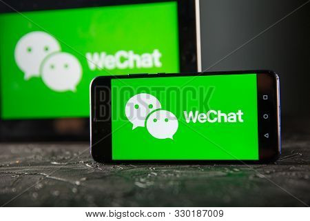 Tula 24 09 2019: Wechat On The Tablet And Phone Display.