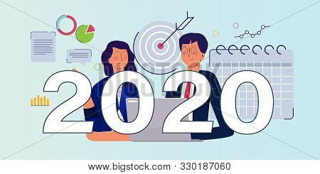 2020 Business Target Goal In Calendar. Business Man Team Meeting Working On New Year Resolution For