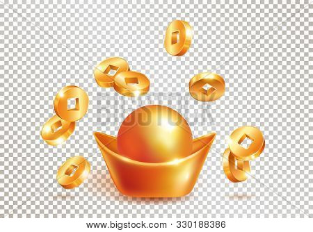 Chinese Traditional Golden Ingot Yuanbao And Realistic Falling Gold Coins Isolated On Transparent Ba