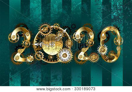 Gold Numbers 2020 With An Antique Clock, With Brass Gears, On Textured, Turquoise, Striped Backgroun