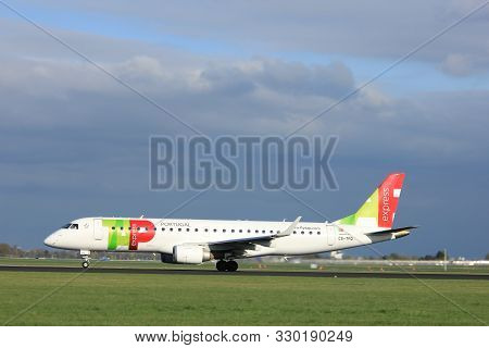 Amsterdam The Netherlands - April 7th, 2017: Cs-tpq Tap Express Embraer Erj-190 Takeoff From Polderb