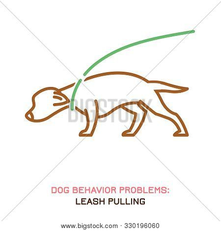 Dog Behavior Problem Icon. Domestic Animal Or Pet Language. Aggressive Dog. Leash Aggression. Doggy