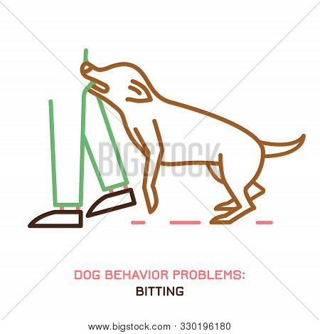 Dog Behavior Problem Icon. Domestic Animal Or Pet Language. Aggressive Dog. Bitting. Doggy Reaction.